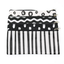 Creative Cartoon Simple Black And White Wavy Striped Pencil Case Creative Oxford Bra Chain Pencil Bag Children Stationery Gift(China)