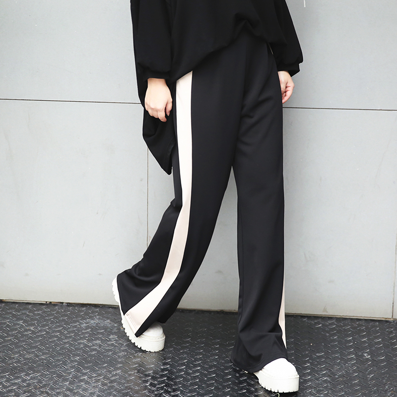New fashion large size women in the spring of 280 pounds of fat mm wide leg pants waist stitching slim slacks micro speaker 362