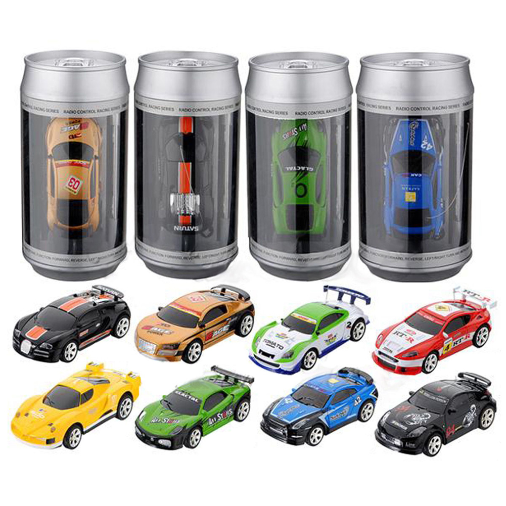 Multicolors Mini 1:58 Coke Can RC Radio Remote Control Micro Racing Car Toy with 4pcs Road Blocks RC Toys Kids Toys Gifts