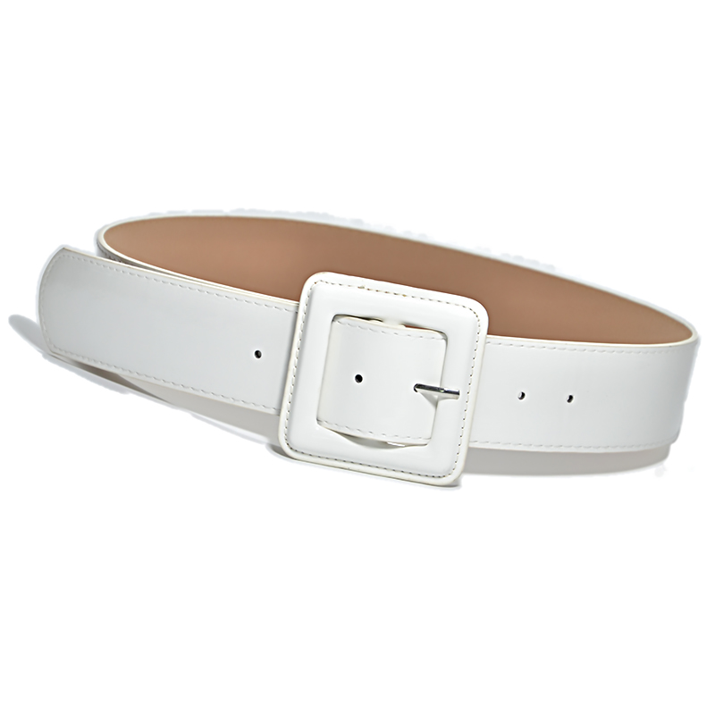 New Fashion Lady Wide White Belt Square Pin Buckle Solid PU Leather Strap Belts Belt  Women Dress Accessory Bg-936