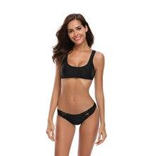 ECTIC Bikini Push High Two-piece Swimsuit Waist Sexy Womens Black Push-ups Thickening Bathing Beachwear