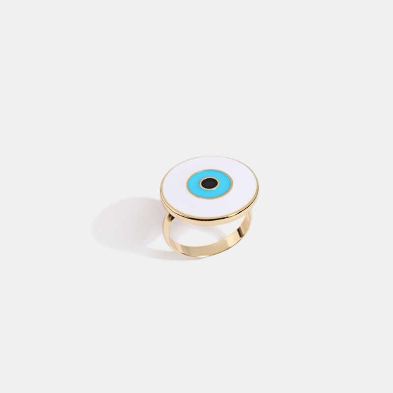 Yhpup แฟชั่นบุคลิกภาพปีศาจตาแหวนเรขาคณิตสังกะสีเคลือบโลหะเครื่องประดับสำหรับสาวของขวัญวันเกิด 2019