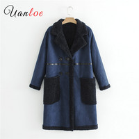2018 Ladies Retro Double Sided Fabric Coat Velvet Lining Stitching Long Double Breasted Long Turn Down Collar Fashion Trench