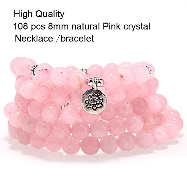 Mcllroy colar de mulheres/Yoga/feminino contas moda Pink crystal 8 MM Pedra Natural Colares Mulheres Jóias Meditação da Ioga 2019