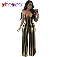 7775f8d1fe0 PinePear Black Gold Bling Bodycon Jumpsuit 2019 Winter Women Elegant Strapless  Flare Pants Romper Lady Luxury