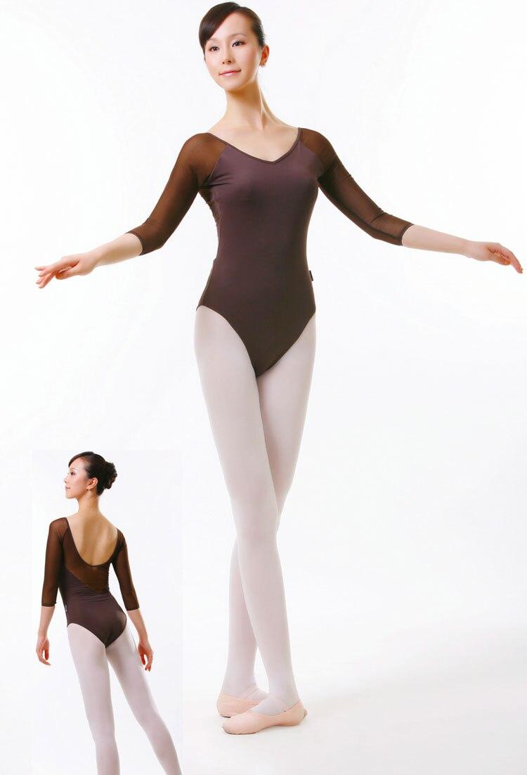 ᑐAlta calidad Ballet adulto de manga larga Siamés/leotardo/ropa de ...