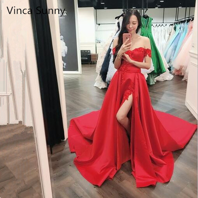 0d547fa1dfc Off Shoulder Red A Line Evening Dresses 2018 Sexy Long Side Split Party  Prom Gowns Floor