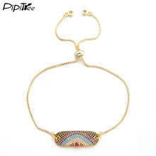 Pipitree Brand Colorful CZ Zircon Bracelet for Women Men Fashion Bar Stick Eye Charm Bracelets & Bangles Chain Jewelry(China)
