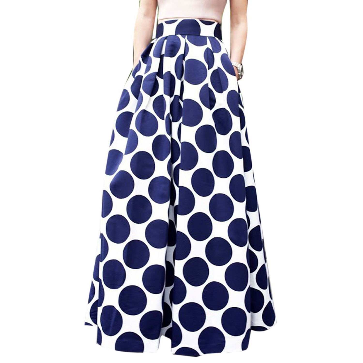 LARRONKETY Store Fashion Causal Spring Autumn Navy Blue Polka Dots Long Saia Tutu Skirts Bodycon High Waist Maxi A Line Pleated Skirt for Women