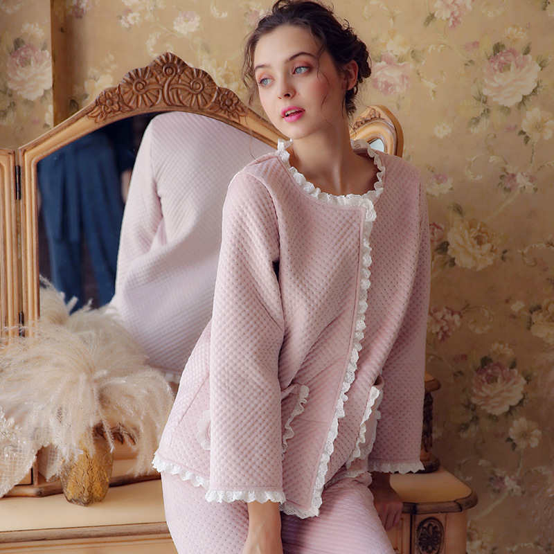 Sleepwear Maternity Autumn Winter Ladies Thick Long-sleeved Cotton Princess Pajamas Two-piece Camisones Para Embarazadas YFQ261 cami satin two piece summer pajamas