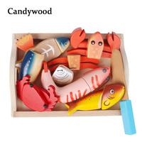 Candywood New High quality Baby Kids Wooden Kitchen Toys Cutting Bread Seafood fish food Set education toys for girl boy gifts