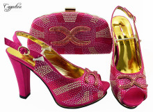 Luxury fuchsia high heel pump shoes and handbag set with rhinestones for party, heel height 11 cm JZS-03