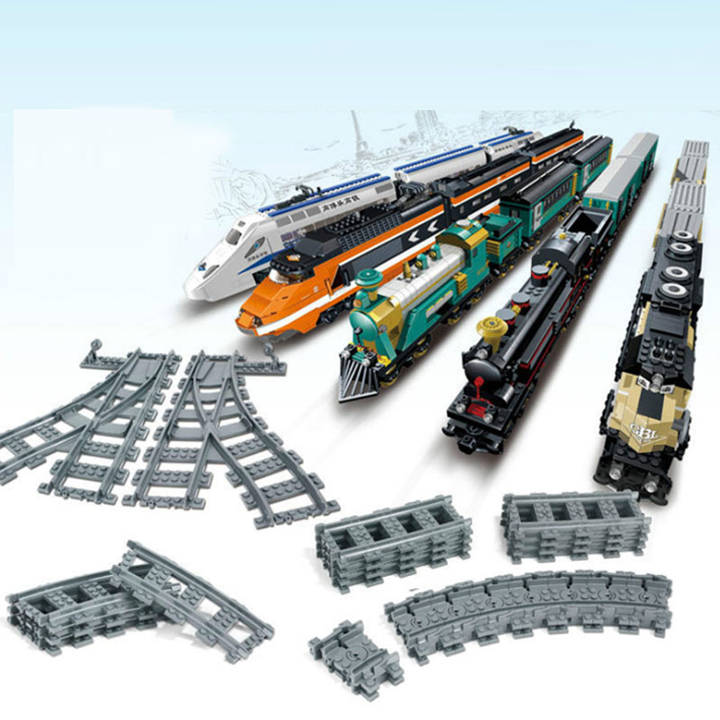 Qunlong DIY City Trains Car Track Rail Flexible Straight Curved Rails Universal Accessories Building Blocks Set Kids Toys Gifts