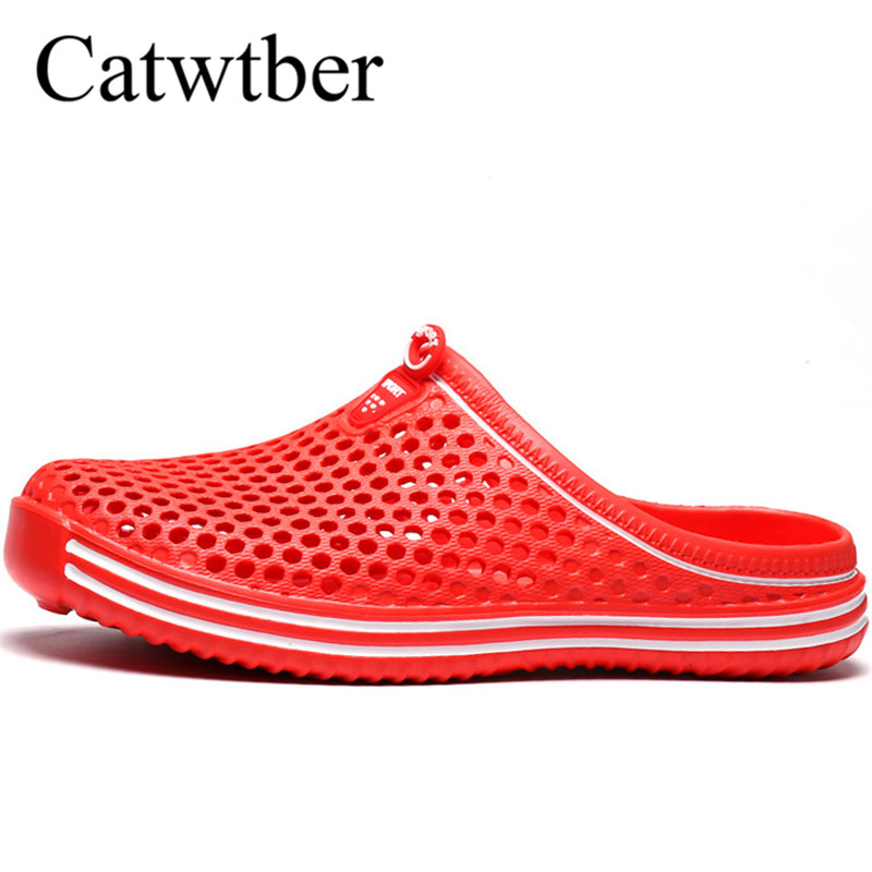 купить Catwtber Unisex summer women slippers flat print shoes jelly hollow flip flops breathable woman slides flat slides Big size 45 недорого