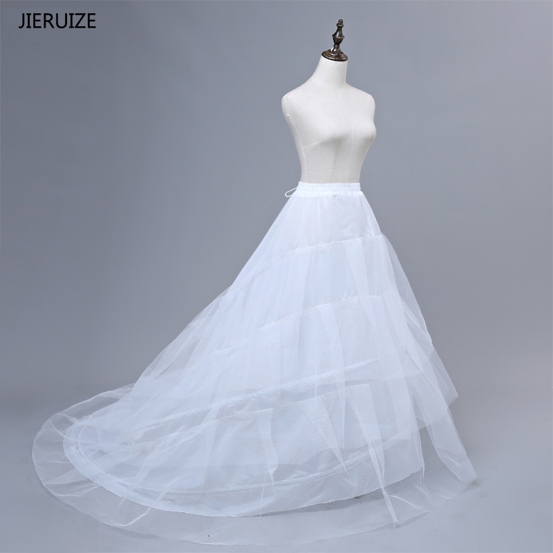 JIERUIZE Gratis forsendelse High Quality White Petticoat Train Crinoline Underskirt 3-Layer For Bryllup Kjoler Brudekjoler
