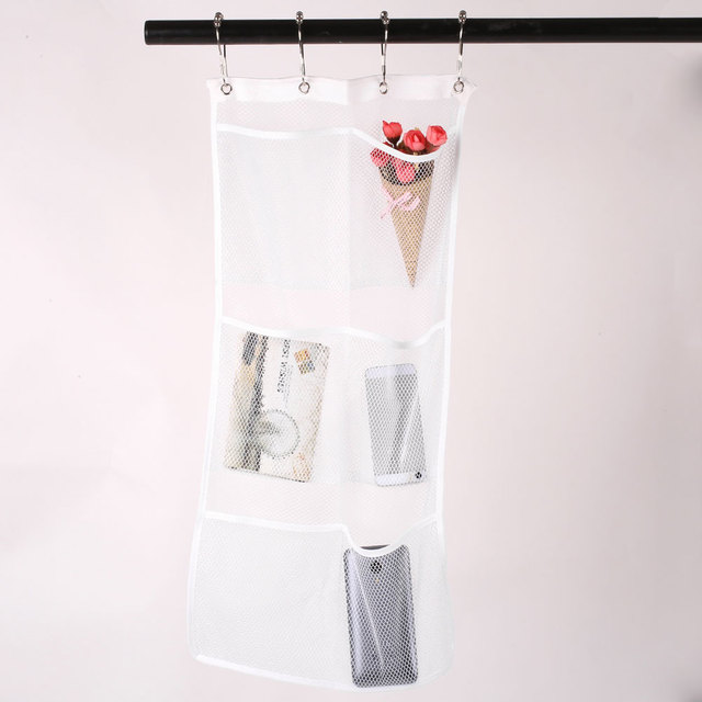 Creative 6 Pockets Organizer Hanging Shower Curtain Hooks Bathroom Accessories