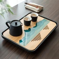 TANGPIN פלסטיק ובמבוק תה מגשי תה שולחן בעבודת יד הגשת מגש קונג פו אביזרי תה