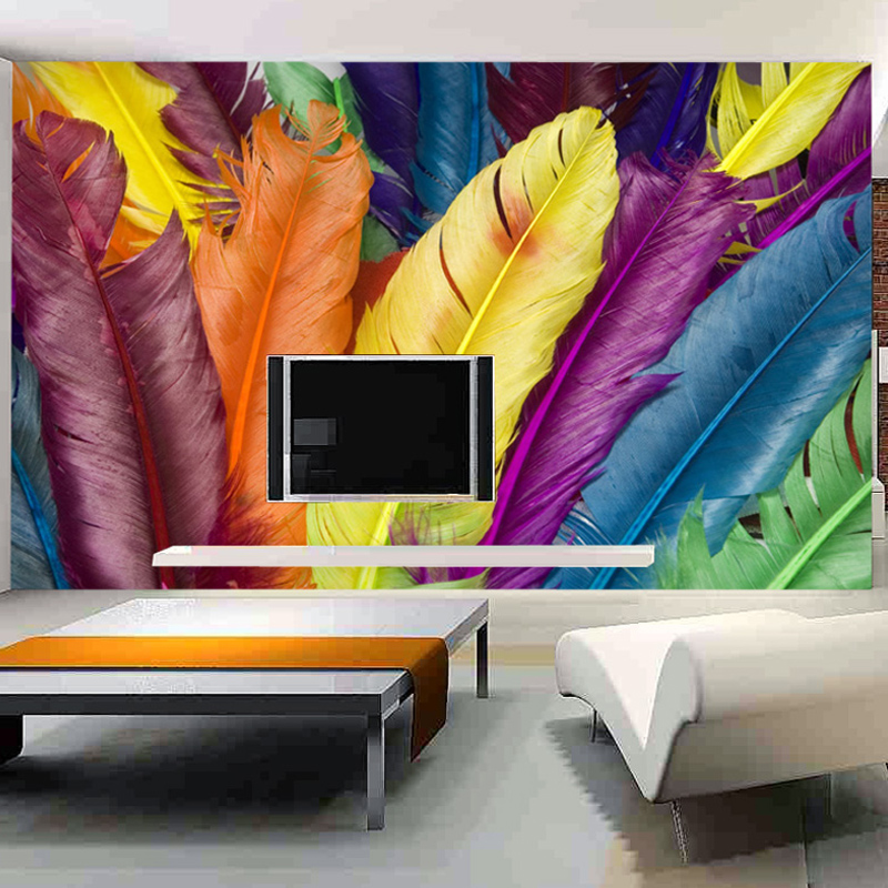Large 3d European Pearl And Rose Jewelry Tv Background: Custom Photo Wall Paper 3D Colour Feathers Large Mural