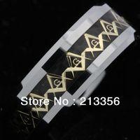 Free Shipping Buy Cheap Price Discount Sales USA HOT Selling 8MM Men&Women's New Golden Masonic Fiber New Tungsten Wedding Rings