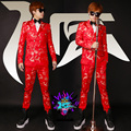 S-5xl! Novo 2016 homens fino DJ DG dragão vermelho bordado cetim dupla terno breasted trajes cantor vestido formal roupas VSTINUS