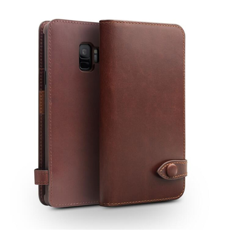 QIALINO Genuine Leather Flip Case for Samsung Galaxy S9 Luxury Button Bag Card Slot Ultra Thin Phone Cover for Samsung S9 Plus