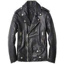 2017 New Men Black Diagonal Zipper Leather Motorcycle Jacket Real Sheepskin Short Slim Fit Men Winter Biker Coat FREE SHIPPING