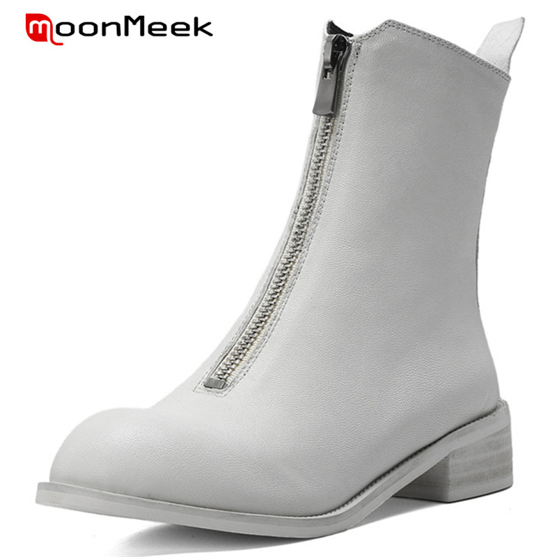 MoonMeek fashion 2018 med heels ankle boots classic genuine leather boots autumn winter ladies boots unique sheepskin shoesMoonMeek fashion 2018 med heels ankle boots classic genuine leather boots autumn winter ladies boots unique sheepskin shoes