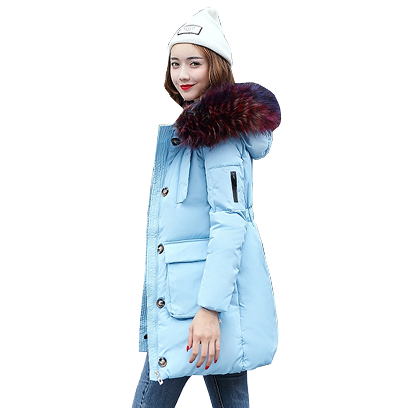 winter women wadded jacket 2017 New female outerwear slim winter hooded coat long cotton padded fur collar parkas plus size 4L14 big fur collar winter jacket women parka wadded jacket female outerwear thick hooded coat long cotton padded parkas plus size