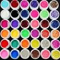 2016 Новых Природных 36 Шт. Mix 12 Чистая 12 Блеск 12 блестки Цвета UV Геля Строителя для Nail Art Fasle Советы Набор