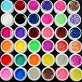 2016 New Natural 36 Pcs Mix 12 Pure 12 Glitter 12 Sequins Color UV Builder Gel for Nail Art Fasle Tips Set