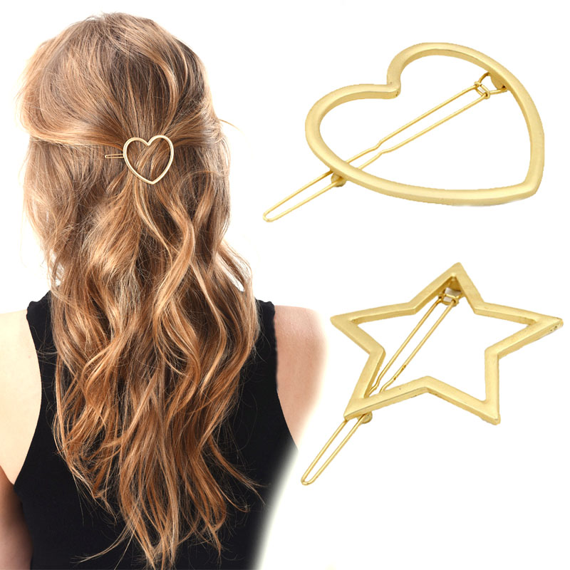 Sale Women 1Pc Golden Hair Clip Sweet Korean Star and Heart Hairpin