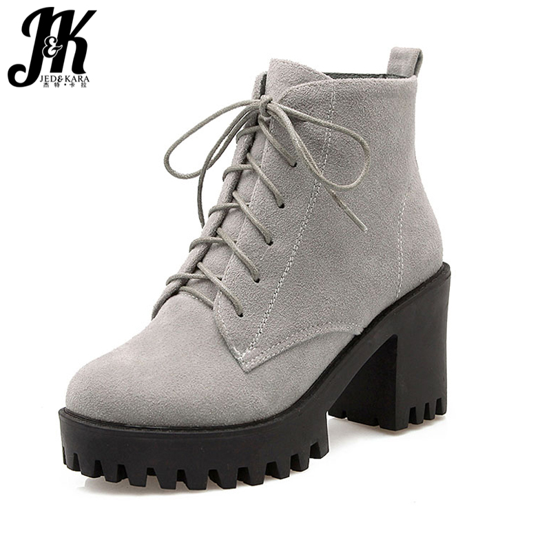 J&K Big Size 34-43 Fashion Lace Up Nubuck Ankle Boots Thick High Heels Platform Shoes Woman Add Fur Skid Proof Winter Boots big size 34 43 high heels ankle boots for women 2016 man made leather fur inside fashion knight sexy woman winter shoes
