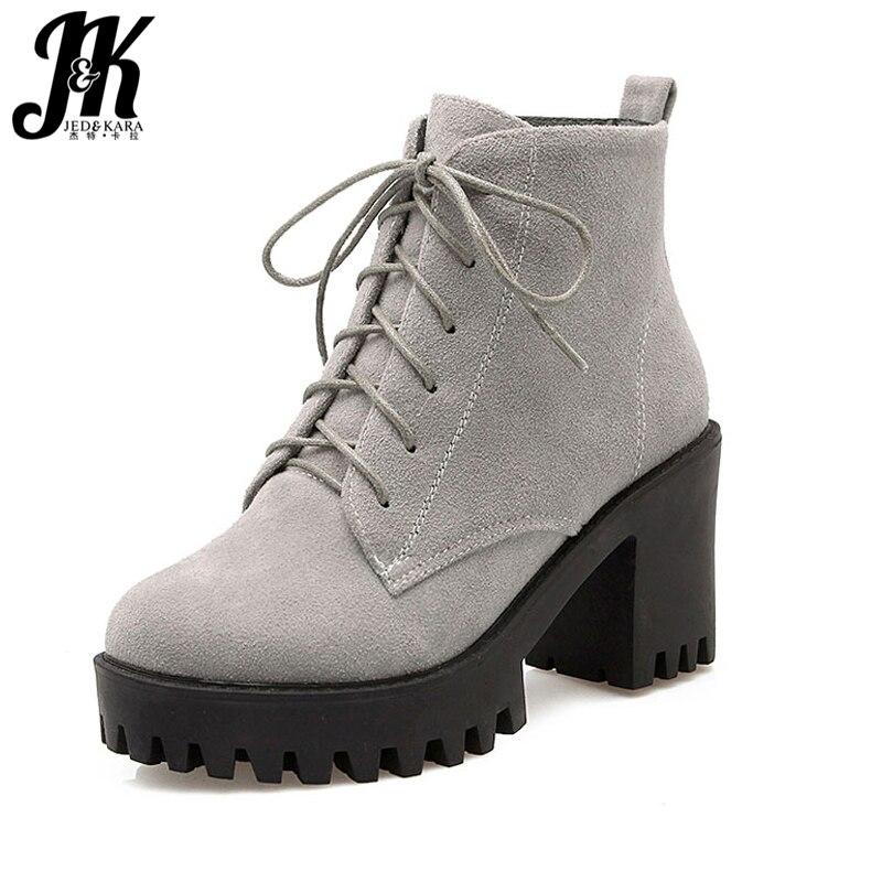 J & K Grande Taille 34-43 Mode Lacets Nubuck Bottines Épais Talons Hauts Plateforme Chaussures Femme ajouter Fourrure Antidérapant Bottes D'hiver