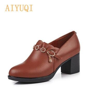 AIYUQI Women Dress Shoes 2020 New Spring Genuine Leather Women Fashion Shoes Rhinestone Shoes Large Size 41 42 Black Brown Zip