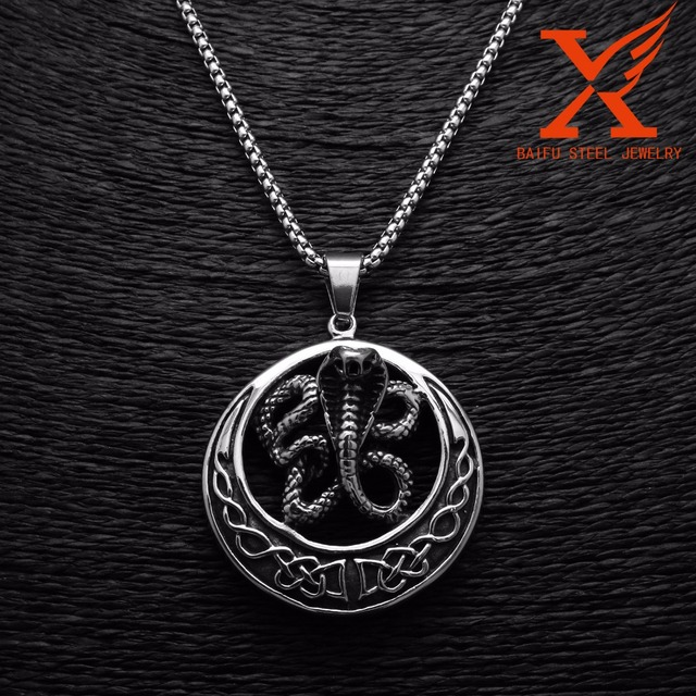 24 mens stainless steel black silver snake pendant necklace 3mm box 24 mens stainless steel black silver snake pendant necklace 3mm box chain aloadofball Image collections