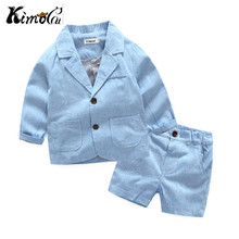 Kimocat nueva Alta Calidad primavera y otoño niño y niña chaqueta manga  larga rayas bolsillo de solapa traje formal c91e71bfca30
