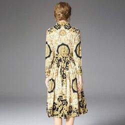 Women's Runway Shirt Dress Elegant Vintage Spring Autumn Jurken Christmas Robe Femme Buttons Long Sleeve Flower Dress Yellow 5