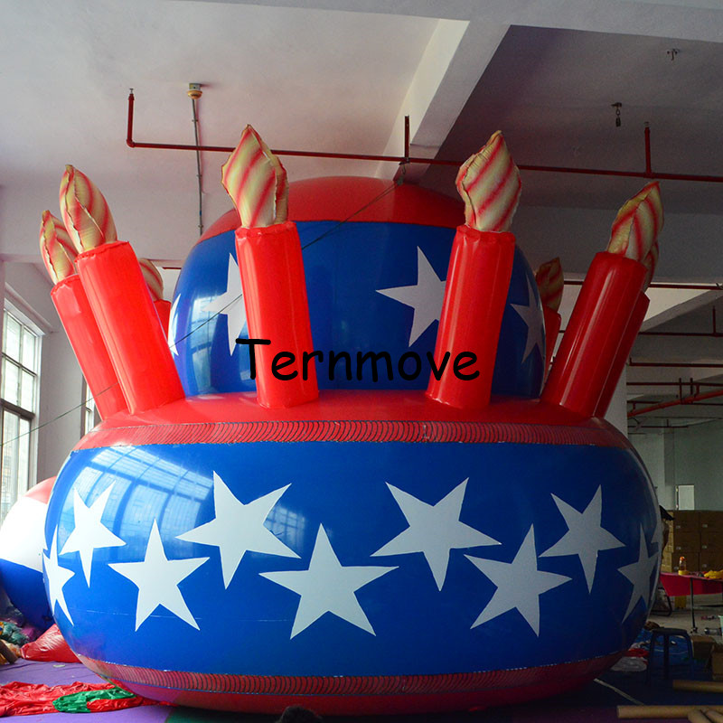 giant inflatable balloon PVC advertising Promotion Helium Giant Anniversary/Birthday Artificial Inflatable Cake with Candles ao007 inflatable cake balloon event advertising 3 5m pvc fly balloon