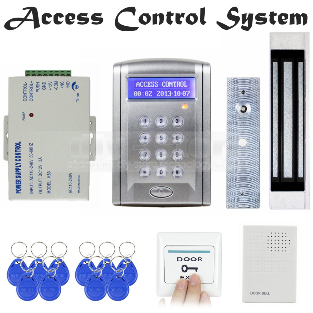 DIYSECUR Door Bell 125KHz Rfid Card Reader Keypad Door Access Control Security System Kit + 180Kg Electric Magnetic Lock BC200 diysecur touch button rfid 125khz metal keypad door access control security system kit magnetic lock for home office use