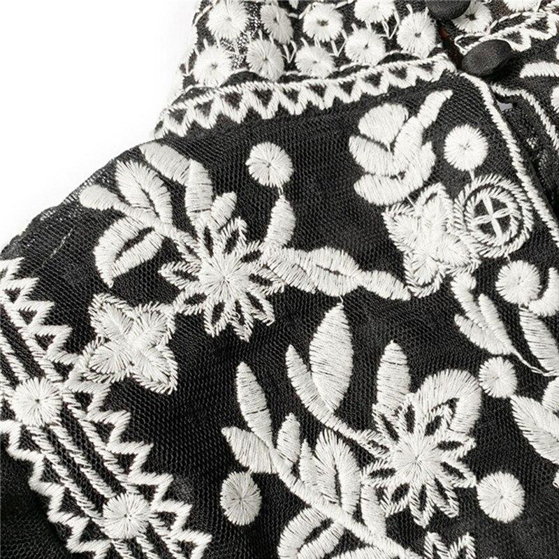 Palace Tiefem V ausschnitt Frauen Spitze Shirts Punk figurbetontes Sexy Shirts Langarm Schwarz Spitze Hemd Unterwäsche - 3
