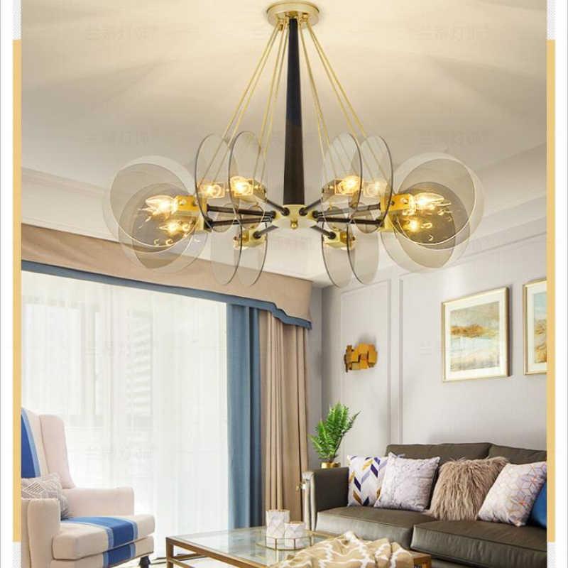 Скандинавские круглые стеклянные пластины для гостиной, светодиодные люстры, индивидуальная подвеска-здание отеля, лампа художественного дизайна, украшение дома, Подвесная лампа