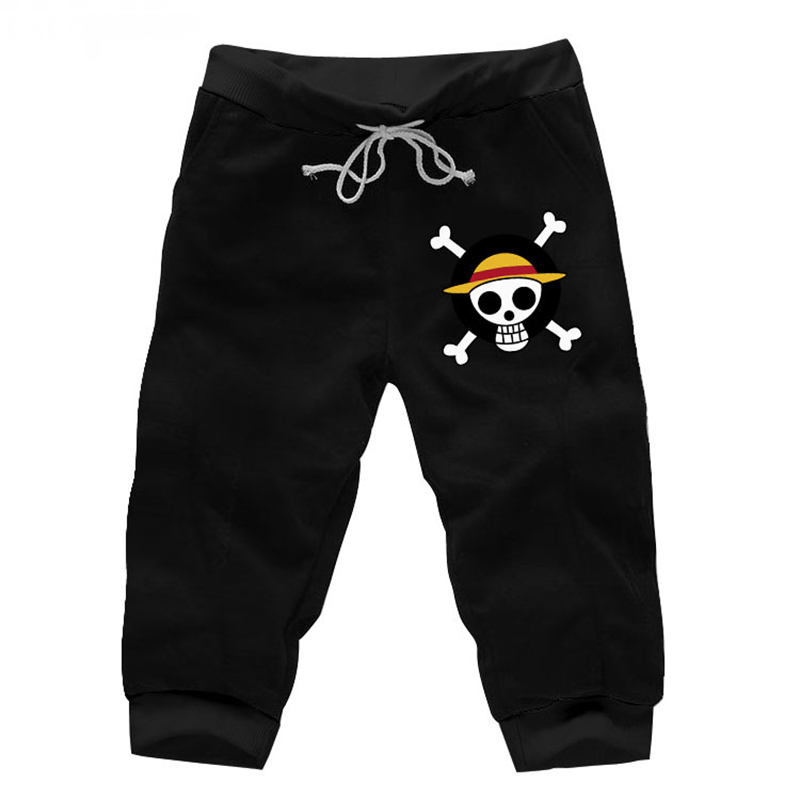 Summ Fashion Anime One Piece Casual Sweat Shorts Mens Beach Print Cotton Short Pants Fitness Knee Length Trousers New