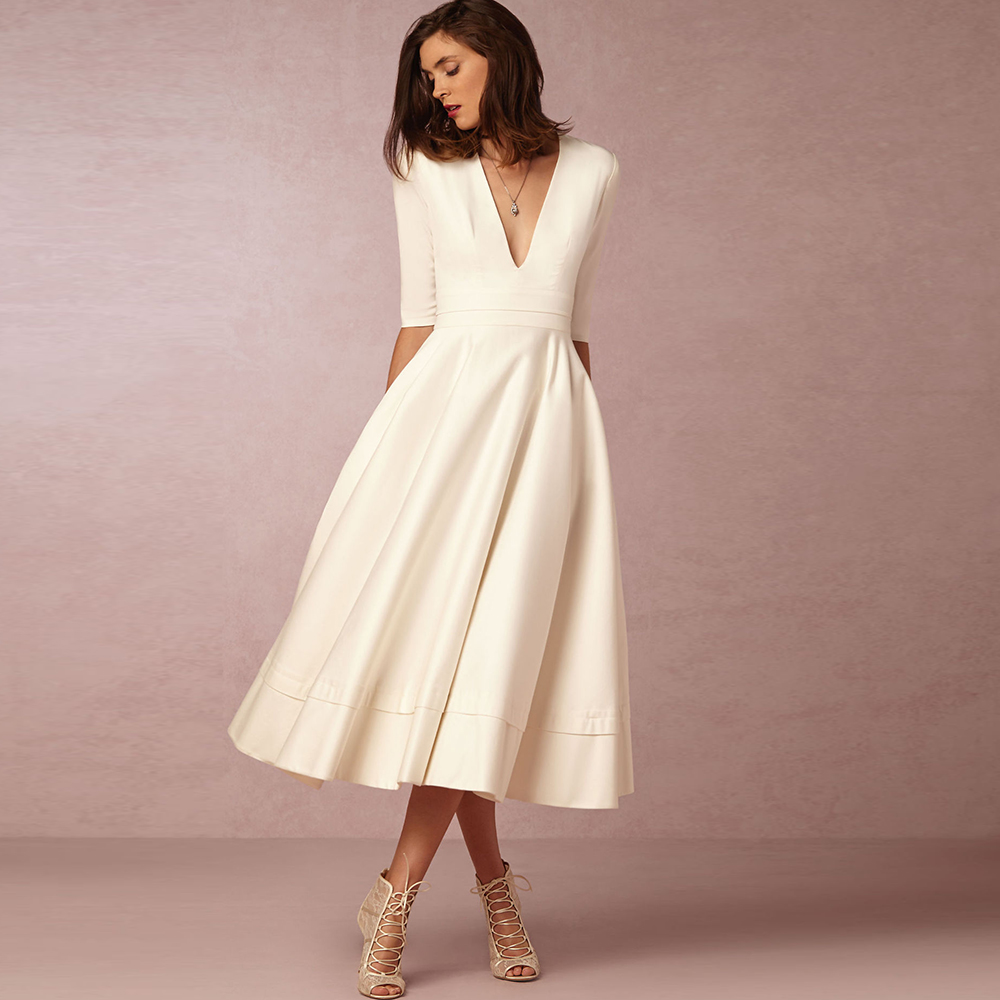 Nueva York fina artesanía imágenes oficiales € 20.73 41% de DESCUENTO|Dower Me modesta elegante Vestido de mujer cuello  pico profundo Midi A line Vestido de fiesta de boda media manga más tamaño  ...