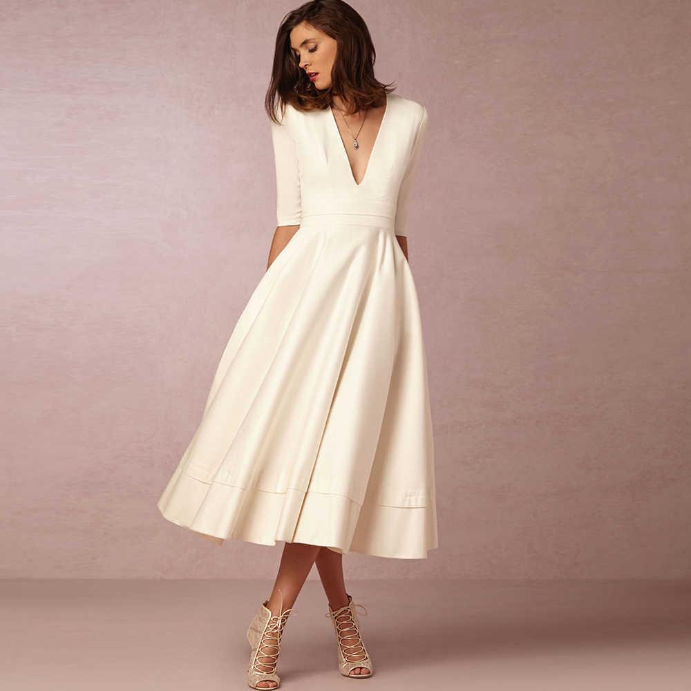 Dower Mich Modest Elegante Frauen Kleid Tiefe V Neck Midi A linie