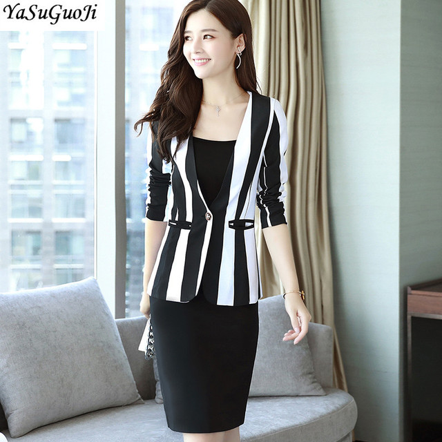 New 2019 Spring Office Lady Slim Two Piece Dress Suits Women Fashion