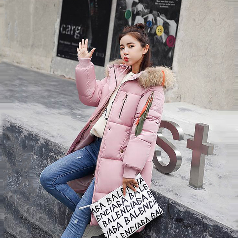 Parka Femmes Raton Veste Rouge Femelle Épais D'hiver Gris Bas rouge Laveur Rembourré gris Le 2018 Rose rose Manteaux Collier Coton Artificielle Beige Cheveux Vers Beige Noir noir EwfaAqqXx