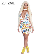 Print V Neck Sexy Club Dress Women Backless Sleeveless Bodycon Mini Party Dress Summer Low Cut Short Skinny Package Hip Dress buenos ninos party night dress sexy v neck package hip dress