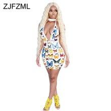 Print V Neck Sexy Club Dress Women Backless Sleeveless Bodycon Mini Party Dress Summer Low Cut Short Skinny Package Hip Dress все цены
