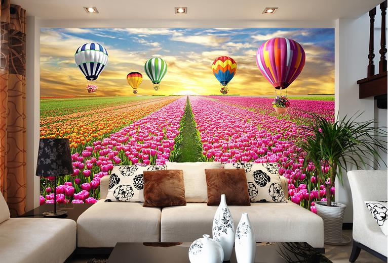 Customize wallpaper for walls 3 d stereoscopic wallpaper tulip flowers 3d room wallpaper photo wall mural wallpaper in wallpapers from home improvement on