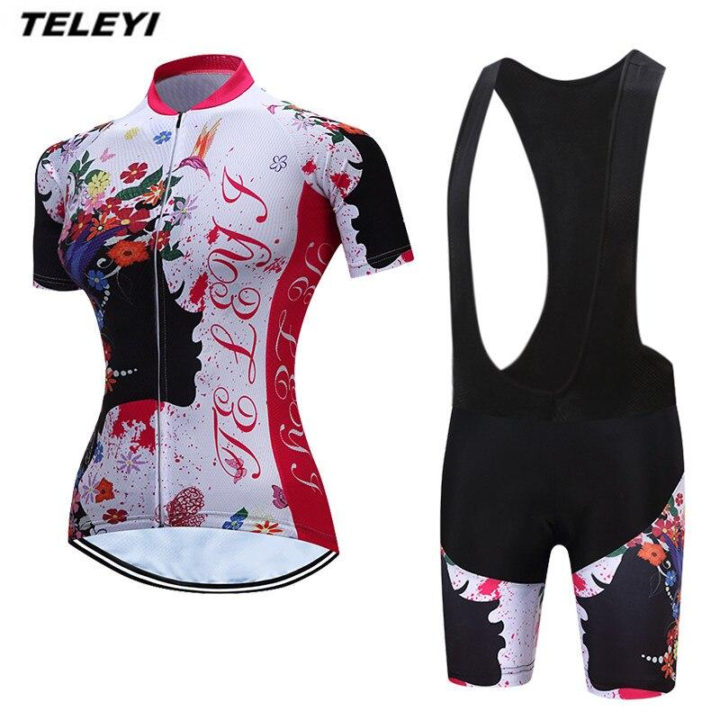 """""""TELEYI"""" gėlių baltos spalvos MTB dviračių Džersio - Dviratis"""